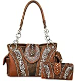 Montana West Concealed Carry Embroidered Boot Scroll Western Satchel + Wallet- Coffee