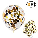 DIvine 3 Color Black and Gold, White Confetti Glitter Balloons Pack of 20, 12 Inch for Bridal Shower Decorations, Birthday Party Weddings, Valentines Day Christmas Party Decorations