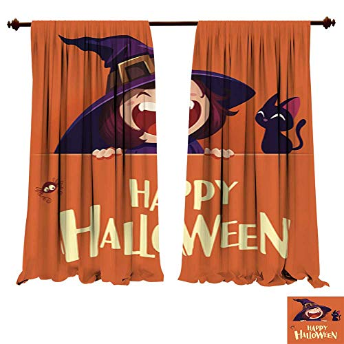 DragonBuildingMaterials Blackout Curtain Panels Happy Halloween Little Witch with Big Signboard Orange Background Energy Efficient Thermal Insulated Blackout ()