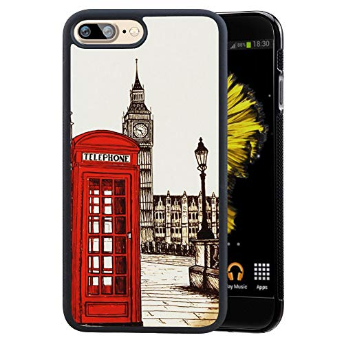 Case for iPhone 7 Plus 8 Plus case London Telephone Booth Slim Soft and Hard Tire Shockproof Protective Phone Cover Case Slim Hybrid Shockproof Protective Case Anti-Scratch Cushion Bumper with Reinfor