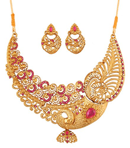 Touchstone Indian Bollywood White Rhinestone Fuchsia Pink Ethnic Wire Work Pretty Peacock Motif Bridal Designer Jewelry hasli Necklace Set for Women in Antique Gold Tone