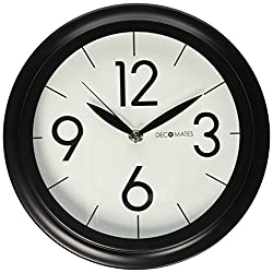 DecoMates Non-Ticking Silent Wall Clock, Classic Library, Black