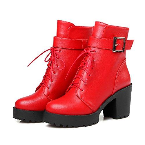 AgooLar Damen Niedrig-Spitze Schnüren PU Leder Hoher Absatz Stiefel, Rot, 39