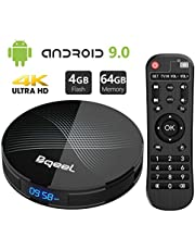 Android 9.0 TV Box 4GB RAM 64GB ROM, Bqeel U1 Pro Android Box RK3318 Quad-Core 64bit Dual-WiFi 2.4G/5.0G,3D Ultra HD 4K H.265 USB 3.0 BT 4.0 Smart TV Box[Updated]