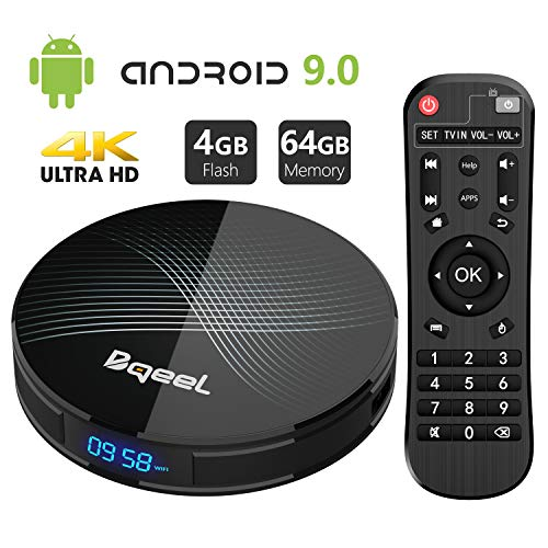Android 9.0 TV Box 4GB RAM 64GB ROM, Bqeel U1 Pro Android Box RK3328 Quad-Core 64bits Dual-WiFi 2.4G/5.0G,3D Ultra HD 4K H.265 USB 3.0 BT 4.0 Smart TV ()