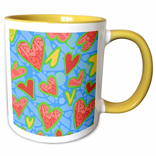 3dRose S. Fernleaf Designs Patterns Folk Art - Patterns, Folk Art ,Whimsical, Hearts, Green Background - 11oz Two-Tone Yellow Mug (mug_37497_8)