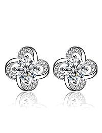 Colorstation Women Fashion 925 Sterling Silver 4 Clover Cubic Zirconia Stud Earrings