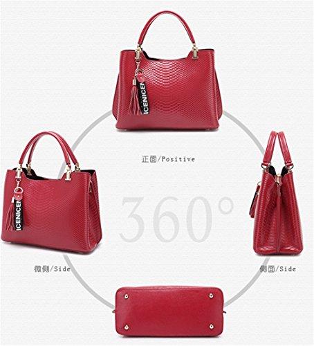 Patrón de cocodrilo XinMaoYuan Paquete femenino Bolso de piel de cuero bolso de cuero color simple Sección Transversal zipper,Bolso negro Vino rojo