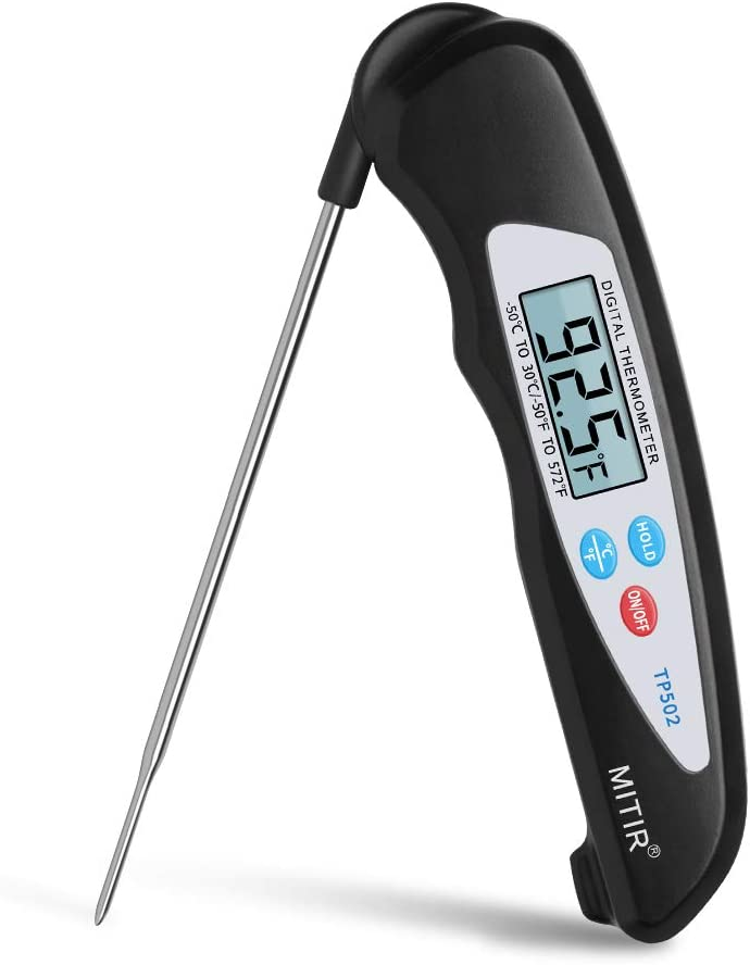 MITIR Meat Thermometer, Digital Instant Read Food Thermometer, Cooking Thermometer with Folding Probe for Kitchen Soup BBQ Grill Smoker Meat Oil Milk Yogurt Candy Temperature (White&Black)
