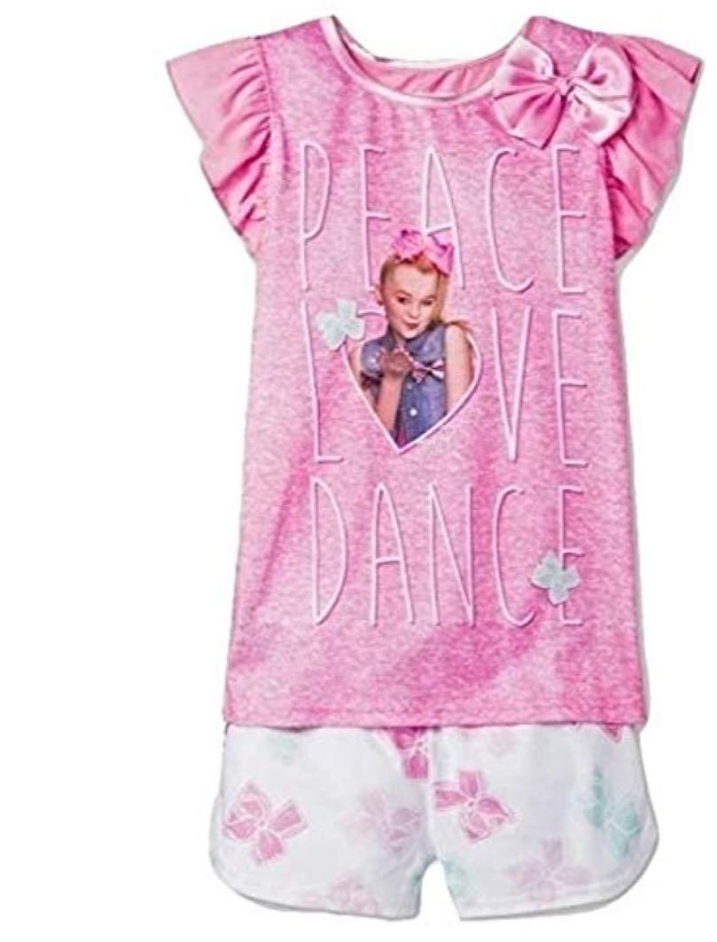 Girls JoJo Siwa Peace Love and Bows 2pc Pajama Shorts Set (X-Small 4-5) Pink