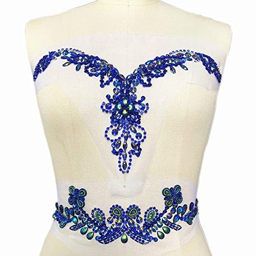 Handmade Beaded V-Neck Sequin AB Color Bling Sew On Neckline Rhinestone Crystal Trim Bridal Applique Design Patch Sewing for Wedding Dresses DIY Decoration 7.8x13.4 Inch (Deep Blue)