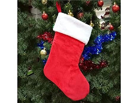 HOUHOUNNPO Calcetines de Navidad Embalaje Decoración Adornos de árbol Bolsas (Rojo + Blanco)
