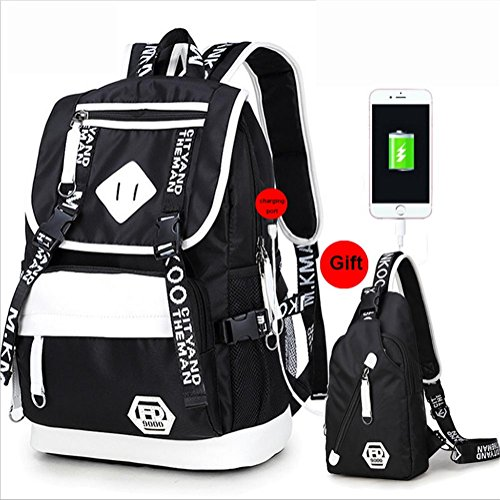 Laptop Daypack Oxford Computer School Port Bag Satchel Rucksack Business with Charging Printing USB blackA Backpack gtOzwqq