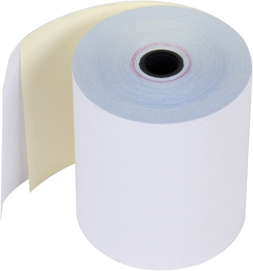 POS Carton of 50 Rolls 2-1//4 x 90 2-Ply Carbonless Paper Point of Sale Rolls