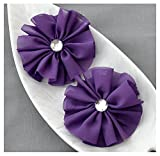 12 Dark Purple Chiffon Flower Soft Fabric Silk Rhinestone Ballerina Twirl Flower Bridal Wedding Garter Baby Hair Headband SF125