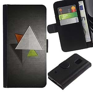 WINCASE (No Para S5 Mini) Cuadro Funda Voltear Cuero Ranura Tarjetas TPU Carcasas Protectora Cover Case Para Samsung Galaxy S5 V SM-G900 - gris metálico gris aluminio cepillado