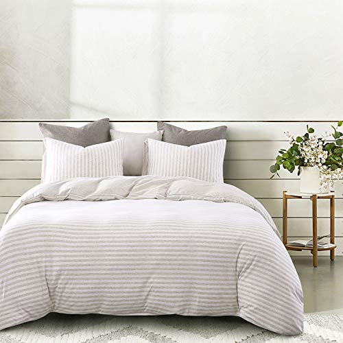 Wake In Cloud - Jersey Cotton Duvet Cover Set, Light Coffee Color Striped Stripes, Solid Plain Color on Reverse, Comfy Soft Knit T-Shirt Jersey Bedding with Zipper Closure (3pcs, Queen Size)