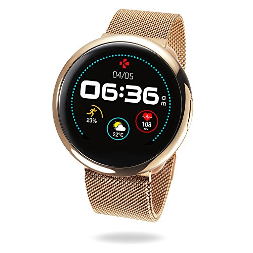 (MyKronoz ZeRound2 HR Elite Smartwatch with Heart Rate Monitoring and Smart Notifications, Swiss Design, iOS and Android - Shiny Pink Gold/Milanese Pink Gold Band)