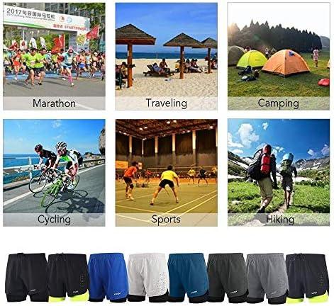 1ショーツメンズ速乾性通気性のアクティブトレーニングスポーツジョギング・マラソンサイクリングフィットネスで2 (Color : Dark Grey+Green, Size : L(EU))