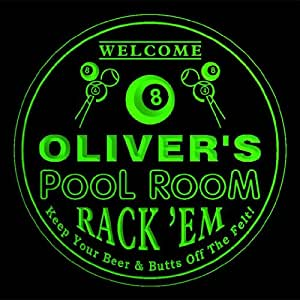4x ccpy1210-g OLIVER'S Pool Room Bar Beer 3D engraved Drink Coasters