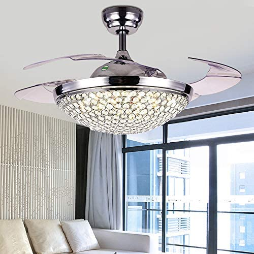 42 Crystal Ceiling Fan Chandelier Retractable Blade Fan Light Invisible LED Fan Lamp Fandelier with Remote Control 3-Color 3-Speed 2 Down rod Silver 1