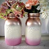 Cheap Metallic Rose Gold, Cream, and Pink Painted Mason Jars, Bridal Shower Centerpieces, (Set of 2)