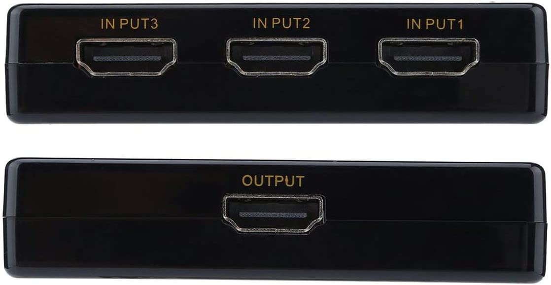 Detectorcatty 3-Port Rectangle HDMI Switcher 3x1 HDMI Switch 4k x 2k 3D HDMI Remote Control Switcher Hub Port Switches Full HD1080p