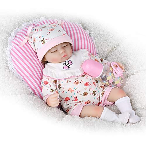 Silicone Vinyl Doll - CHAREX Reborn Baby Doll, 16 inches Handmade Sleeping Newborn Soft Silicone Vinyl Dolls, 9-Piece Gift Set