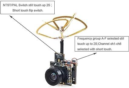 Makerfire FPV Tiny Whoop Cámara 5.8G 40CH VTX con Triángulo Polarizado Circular Antena Leaf para Blade Inductrix etc.