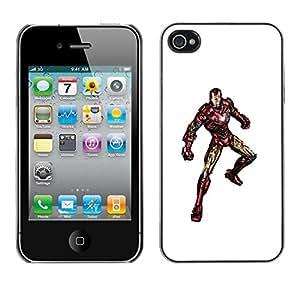 SoulCase / Apple Iphone 4 / 4S / Iron Superhero Watercolor / Delgado Negro Plástico caso cubierta Shell Armor Funda Case Cover