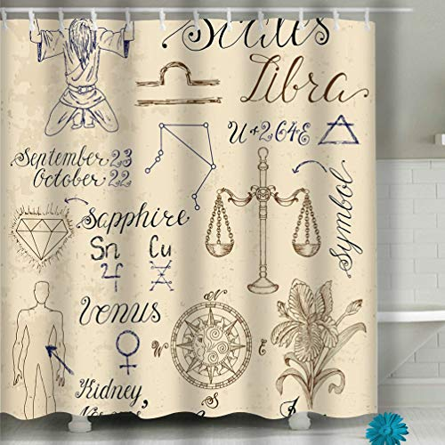 Scales Zodiac Libra - qilifz Shower Curtain Set Symbols Zodiac Sign Libra Scales Collection Hand Drawn Astrological line Art Engraved Horoscope 60 72 inch