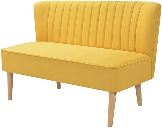 XINGLIEU Sofá Cama Amarillo,Sofa de Jardin Exterior,Sofa Reclinable,Tela + Madera 117 x 55,5 x 77 cm: Amazon.es: Hogar