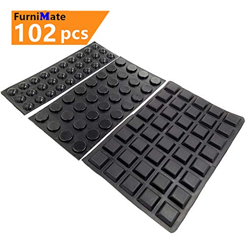 Black Cabinet Door Drawer Bumpers Pads 102PCS Adhesive Rubber Bumpers for Cabinets Drawer Close Pads Picture Frame Cutting Board Sound Dampening ()