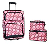 Ever Moda 3-Piece Carry On Luggage Set with Wheels for Travels (Coral Chain Link)