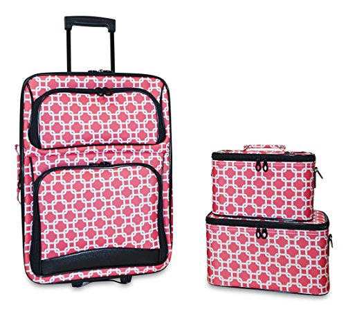 Ever Moda 3-Piece Carry On Luggage Set with Wheels for Travels (Coral Chain Link) by Ever Moda