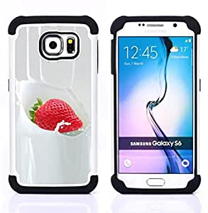 Dragon Case- Dise?¡Ào de doble capa pata de cabra Tuff Impacto Armor h??brido de goma suave de silicona cubierta d FOR Samsung Galaxy S6 G9200- BERRIES STRAWBERRY DESSERT SWEET CREAM