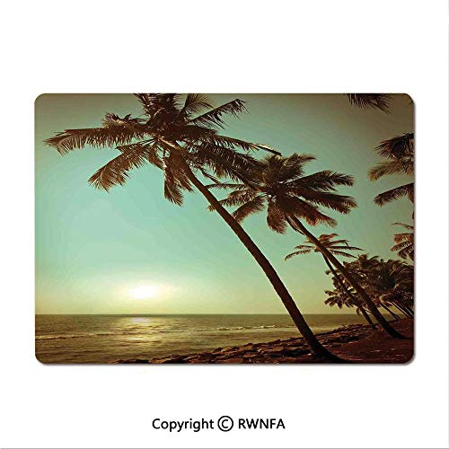 Non-Slip Rubber Base Mouse pad Retro Watercolor Silhouettes of Palm Trees Stains on Tropical Paradise Theme(8.3
