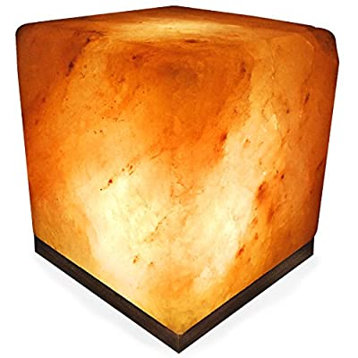 Crystal Allies Gallery: Natural Himalayan Globe Salt Lamp Ionic Air Purifier on Wood Base with Cord, Light Bulb & Authentic Crystal Allies Info Card
