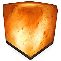 Crystal Allies Gallery: Natural Himalayan Cube Salt Lamp on Wood Base with Cord, Light Bulb and Authentic Crystal Allies Info Card