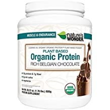 Nature's Wonder Organic Plant Based Protein Powder, Rich Belgian Chocolate, 1.764 Pound, Compare vs. Orgain® Organic Protein™ Plant Based Powder
