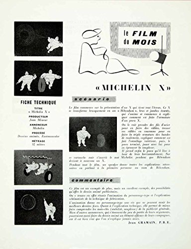 1958 Article French Michelin Man Car Tires Film Advertising Jean Mineur Ad VENA1 - Original Print Article from PeriodPaper LLC-Collectible Original Print Archive