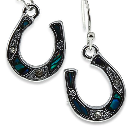 Silver Green Abalone Paua Shell Lucky Horseshoe Earrings Horse Shoe Lover Jewelry for Women Girl Teen 3/8' Horseshoe Dangle Earrings