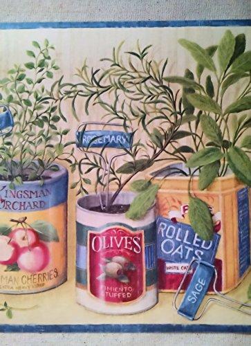 Blue Garden Wallpaper - Herb Garden Gardening Wallpaper Border-Blue CP033143B