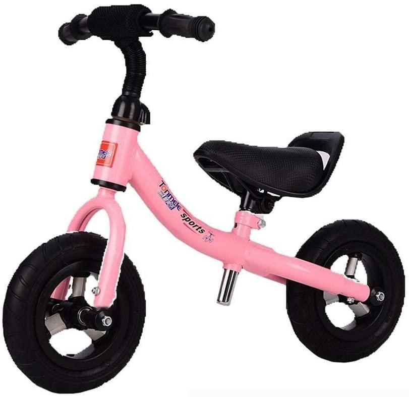 WOLJW Equilibrio para niños de 1 a 5 años de Edad, Bicicleta de Entrenamiento Juguete sin Pedales Altura del Asiento Ajustable Ligero (Color: Rosa, Tamaño: 8 Pulgadas)