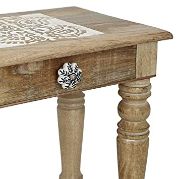 SAVON Wooden Side end Table Square White Paisely Carved