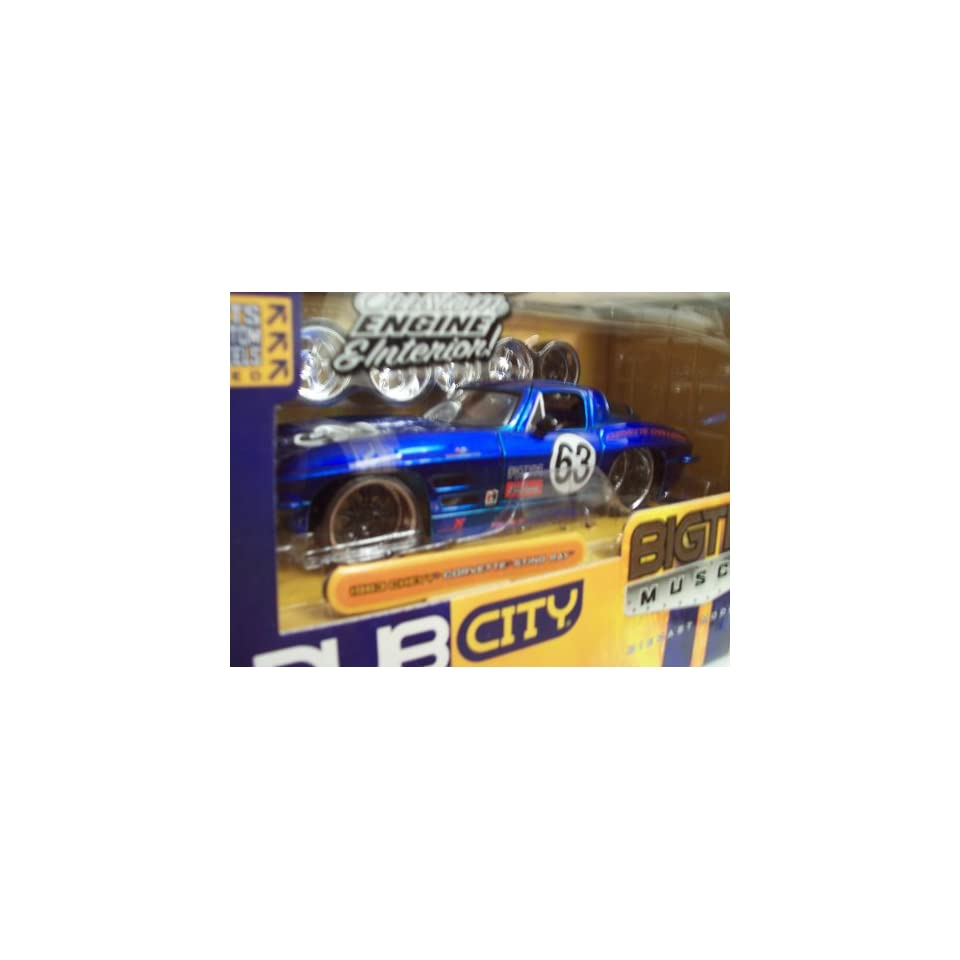 Jada Dub City Big Time Muscle Blue Racing 1963 Chevy Corvette Sting Ray 124 Scale Die Cast Model Kit