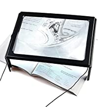 Aenmil® Lightweight A4 Full Page Hands Free Desk Type 3x Magnifying Glass Lens 4 LED Light Illuminated Magnifier with Foldable Legs and Neck Cord for Reading, Powered by 2 x AAA Battery