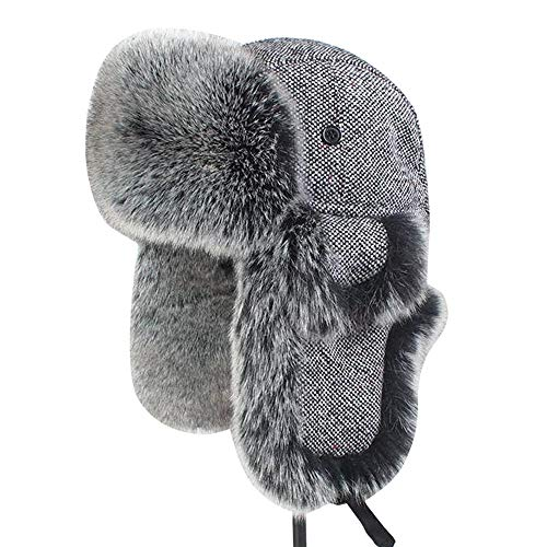 zxcvb Trapper Warm Russian Trooper Fur Earflap Winter Skiing Hat Cap Women Men Windproof Outdoor Cotton Cap (Color : Black, Size : S) ()