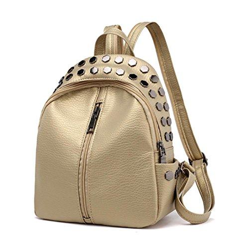 Oro viaggio pelle Donne Bag zaino borsa zaino rivetti in Vintage Amlaiworld Tx1UwOCqS