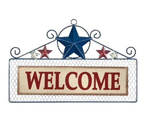 """18"""" """"Welcome"""" Patriotic Stars Wire Welcome Sign Wall Plaque"""
